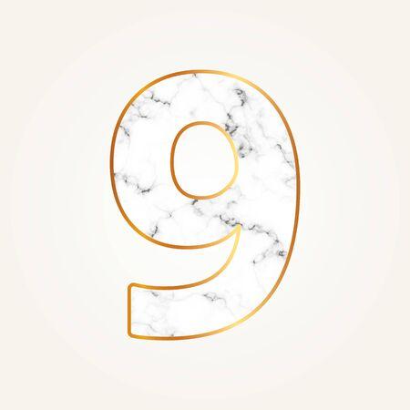 Marble number nine with gold frame. Lettering number 9.