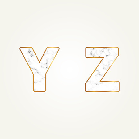 Marble alphabet, signs letters Y, Z. Modern white marble font