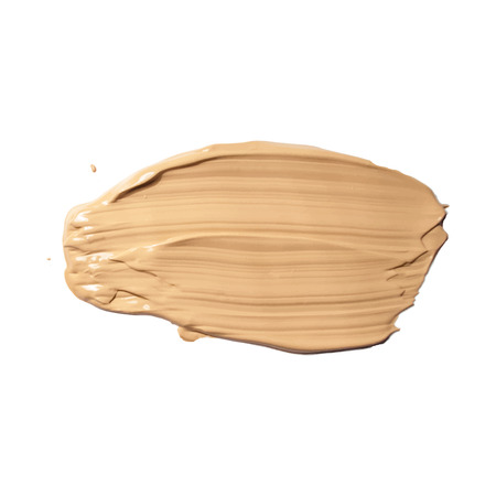 Cosmetic cream, concealer smear isolated on white. Liquid foundation, cream, smudged, brown stroke texture. Makeup Vector