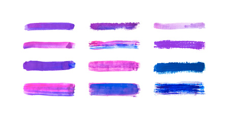 Collection of purple with blue hand drawn paint, ink brush strokes, brushes, lines watercolor isolated on white background