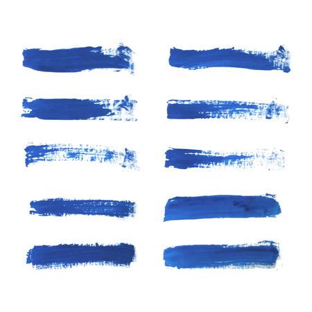 Set of blue paint, ink brush strokes, brushes, lines isolated on white background Vetores