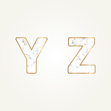 Marble alphabet, signs letters Y, Z. Modern white marble font. Ilustração