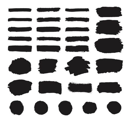 Set of black grunge hand drawing, round shapes, stripes, ink brush strokes, hand drawn texture isolated circles, brushes, lines isolated on white background.