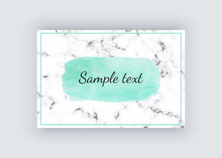 Cover card with white marble texture and green watercolor hand paint texture. Acrylic brush strokes, spots. Background for your modern design, cover, template, flyer, banner, placards. 일러스트