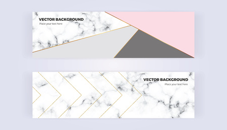 Geometric banner in gold, glitter, gray, pastel pink and marble texture background. Template for designs, card, flyer, invitation, party, birthday, wedding, email, web Vector illustration.
