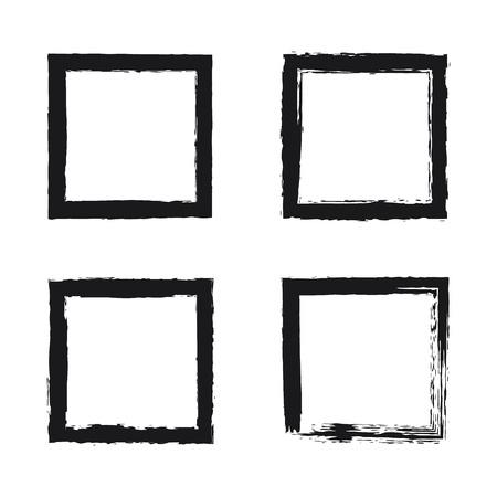 Black brush strokes square frame. Hand drawn grunge brush, rectangle border on white. illustration set Vetores