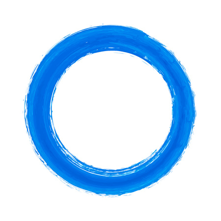Brush stroke blue circle frame. Hand drawn warercolor circle. Place for your text. illustration