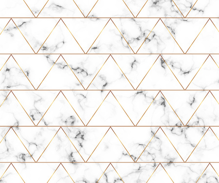 Modern minimalist white marble texture with gold geometric lines pattern.
