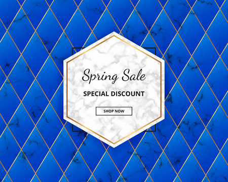 Modern spring sale cover, blue geometric design with marble texture.