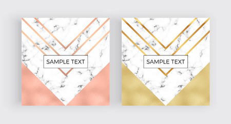 Modern social media banners, marble and foil texture with pink, gold geometry background. Square template for designs, card, flyer, invitation, party, birthday, wedding, email, web, website Illustration