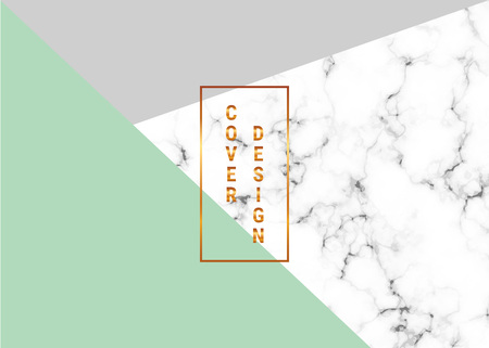 Cover geometric placard design with marble texture and gold glitter lines, green, gray colors background. Template for design card, banner, online, email, social media, flyer, invitation, wedding Illustration