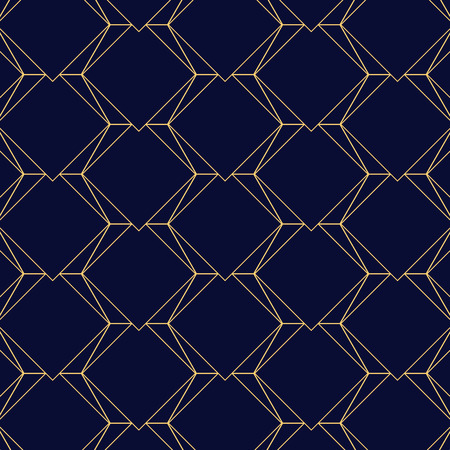 Seamless gold line geometric modern pattern. Triangles and hexagons on the dark blue background. Golden texture.