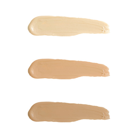 Liquid foundation tone smudge. Set concealer smear cosmetic cream isolated on white background, brown stroke texture. Makeup Vector