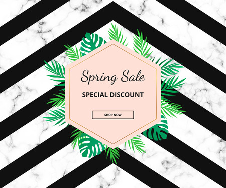 Modern sale banner with tropical leaves for social media and website promotion. Template for designs, flyer, invitation, party, birthday, wedding, email, card, print advertising