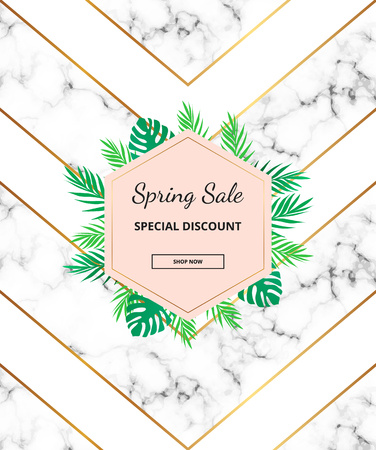 Modern sale banner with marble texture, luxury geometric lines, triangles, tropical leaves. Trendy template for design brochure, flyer, invitation, party, birthday, wedding, card, print advertising Illustration