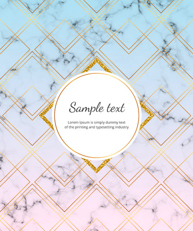 Cover geometric design with golden glitter lines on the colorful gradient with marble texture. Template for invitation, card, social media, wedding, baby shower, banner, poster, party, flyer  イラスト・ベクター素材