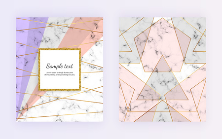 Geometric cover design with triangles shapes on the marble texture. Gold lines, gray, pink background. Modern template for card, flyer, invitation, party, birthday, wedding, placard, brochure, banner Ilustracja