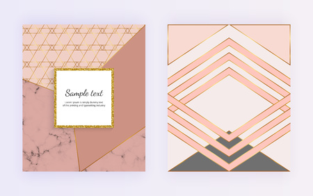 Geometric design with golden lines, triangular shapes. Modern templates for invitation, wedding, placard, birthday, brochure, banner, cover, layout, card, flyer