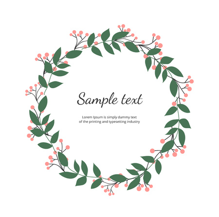 Floral wreath with green leaves. Vector hand draw illustration. Round frame with wildflowers. Design for invitation, wedding, placard, birthday, save the date, banner, cover, layout, card, flyer