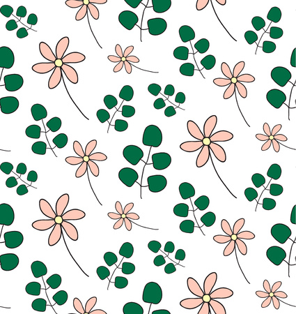 Hand drawn seamless pattern with spring flowers, eucalyptus leaves.