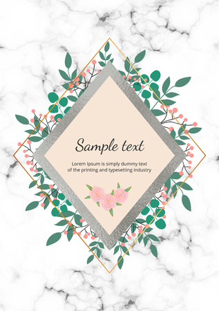 Template for wedding invitation with green leaves, eucalyptus branches, foliage, decorative marble stone and foil texture. Elegant garden leafs design for card, banner, flyer, placard, layout