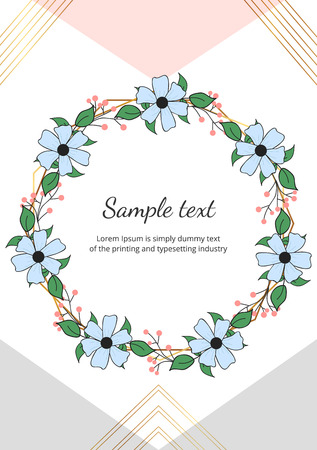 Hand drawing floral wreath with green leaves on the geometric design with golden lines. Template for invitation, wedding, placard, birthday, save the date, banner, cover, layout, card, flyer