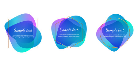 Set of colorful shapes with golden lines. Template for banner, flyer, brochure, poster, card Ilustracja