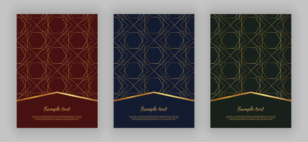 Luxury geometric design. Golden lines on the red, blue, green background. Modern templates for product package, menu, banner, card, flyer, invitation, brochure, print advertising, cover, business, layout
