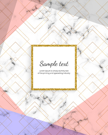 Geometric cover design with triangles shapes on the marble texture. Golden lines, gray, pink background. Modern template for card, flyer, invitation, birthday, wedding, placard, brochure, banner