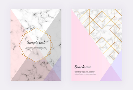 Marble geometric design with golden lines, triangular elements and gold polygonal frame. Modern templates for invitation, wedding, placard, birthday, brochure, banner, cover, layout, card, flyer Ilustracja
