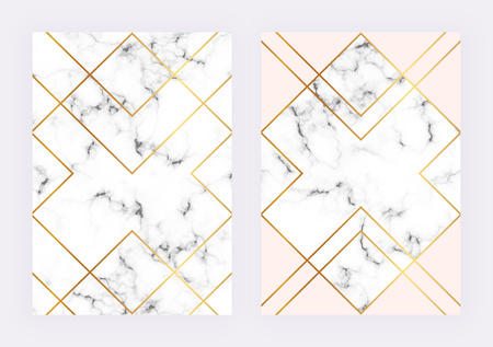 Luxury wedding templates with marble geometric design with polygonal golden lines. Modern backgrond for invitation, wedding, placard, birthday, brochure, banner, cover, layout, card, flyer Ilustracja