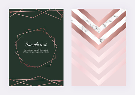 Geometric design with gold rose lines, marble triangular elements and polygonal frame. Modern templates for invitation, wedding, placard, birthday, brochure, banner, cover, layout, card, flyer