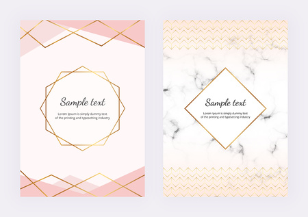 Geometric design with golden lines, triangular elements. Modern templates for invitation, wedding, placard, birthday, brochure, banner, cover, layout, card, flyer