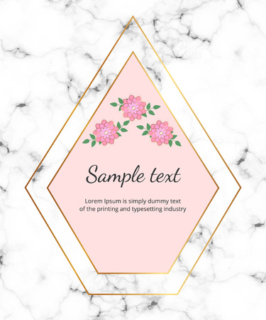 Modern geometric frame wirh golden lines, flowers on the white marble stone texture. Trendy luxury fashion cover. Template for wedding, invite, banner, card, flyer, invitation, poster, birthday