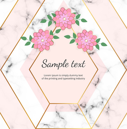 Wedding geometric frame with golden lines, flowers on the white marble stone texture. Trendy luxury fashion cover. Template for wedding, invite, banner, card, flyer, invitation, poster, birthday Ilustracja