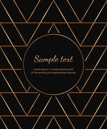 Geometric golden lines on the black background. Modern minimalist luxury placard, circle frame. Template for invitation, card, social media, wedding, banner, poster, party, flyer Ilustracja
