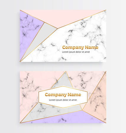 Geometric business card with golden polygonal, triangles on the marble texture. Modern luxury and fashion design with lines and shapes. Template for banner, flyer, invitation, wedding, invite