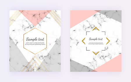 Geometric cover design with gray, pink triangles shapes, golden lines on the marble texture. Modern templates for card, flyer, invitation, party, birthday, wedding, placard, brochure, banner 일러스트