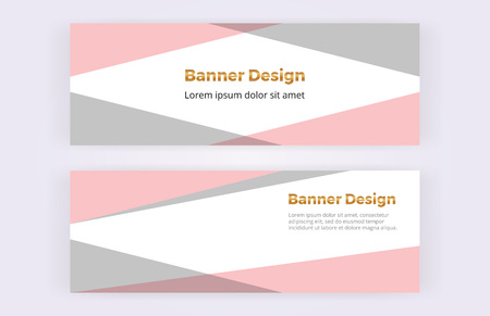Geometric banner with pink and gray triangles on the white background. Modern luxury and fashion design with shapes. Template for card, flyer, invitation, wedding