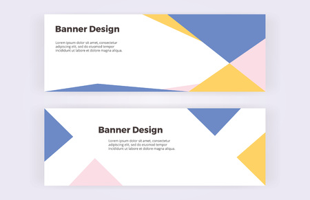 Geometric banners with blue, pink and yellow triangles on the white background. Modern and trendy design with shapes. Template for card, flyer, invitation, business, layout
