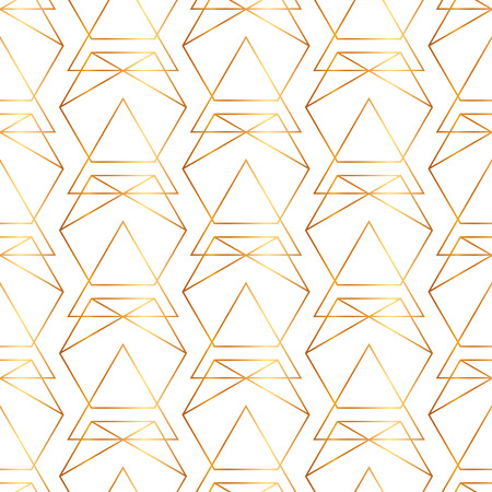 Seamless golden lines, geometric modern pattern. Background with triangles and hexagons