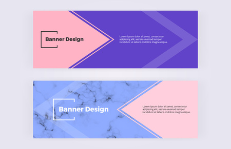 Geometric banners with pink and blue triangles background. Marble texture. Modern and fashion design with shapes. Template for card, flyer, invitation, wedding, business, layout