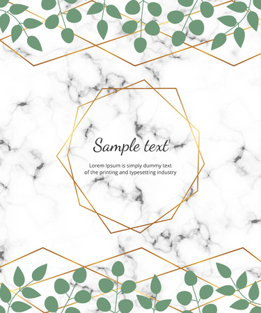 Polygonal geometric frame, golden lines with leaves eucalyptus on the marble texture. Botanical design template for wedding, invitation, save the date, banner, poster, card, placard, flyer, invite Ilustracja