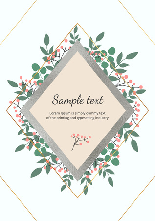 Template for wedding invitation with green leaves, eucalyptus branches, foliage decorative foil texture. Elegant garden leafs design for card, banner, flyer, placard, layout