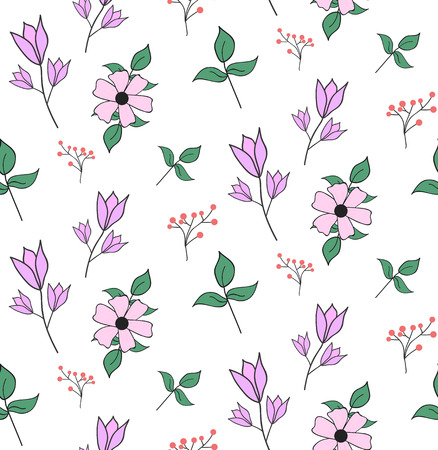 Hand drawn seamless pattern with spring flowers, bluebell, green leaves. Ilustracja