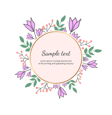 Floral wreath with green leaves, bluebell. Vector hand draw illustration. Round frame with wildflowers. Design for invitation, wedding, placard, birthday, save the date, banner, cover, layout, flyer Ilustracja