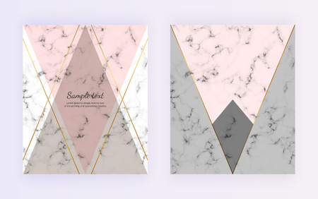 Marble geometric cover design. Pink, gray, golden lines background. Trendy template for banner, card, flyer, invitation, party, birthday, wedding, placard, magazine, website