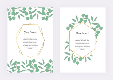 Wedding invitation, polygonal geometric frame, golden lines with leaves eucalyptus on the marble texture. Botanical design template for save the date, banner, poster, card, placard, flyer, invite