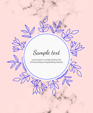 Hand drawn wedding invitation flowers card. Blue contour flowers and leaves on the pink background. Botanical design template for save the date, banner, poster, placard, flyer, invite,