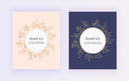 Hand drawn wedding invitation card. Golden lines of contour flowers and leaves on the pink and dark blue background. Botanical design templates for save the date, banner, flyer, invite, poster, layout